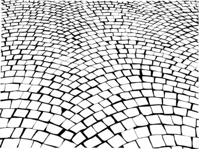 Alexis Dahan,  Cobblestone (paris) , 2016, charcoal on paper, 50 x 38 in
