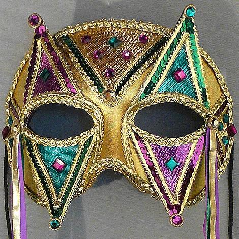 Harlequin Mardi Gras Masquerade Mask Thumb