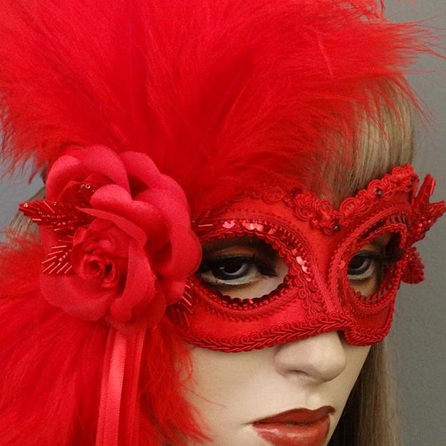 Rose-red-masquerade mask-close.JPG