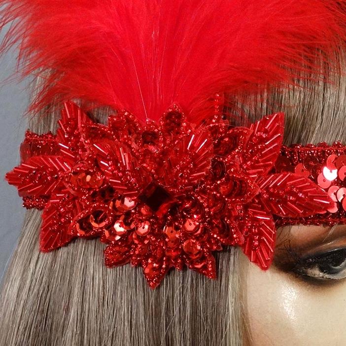 Ruby Gatsby Flapper Headband Close