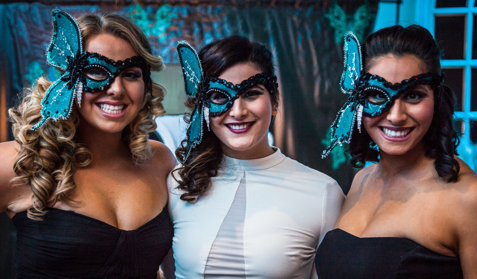 """Custom masks designed for the """"butterfly effect"""" theme of the masquerade charity event"""