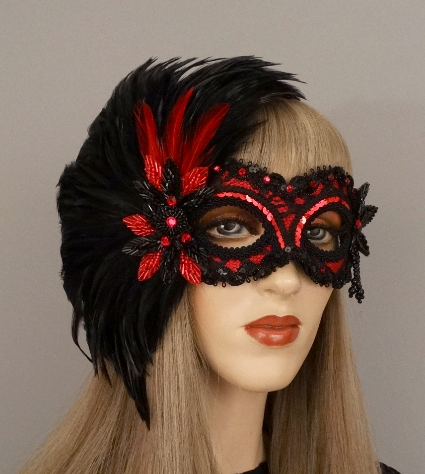romace lace red masquerade mask.JPG