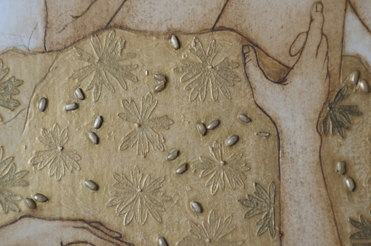 seeds, leaves and carving into board