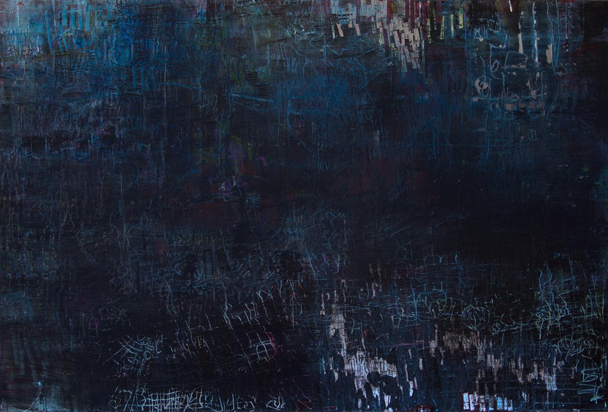 BLUE MOON acrylic on wood 1.21 X 1.82 meters -2013