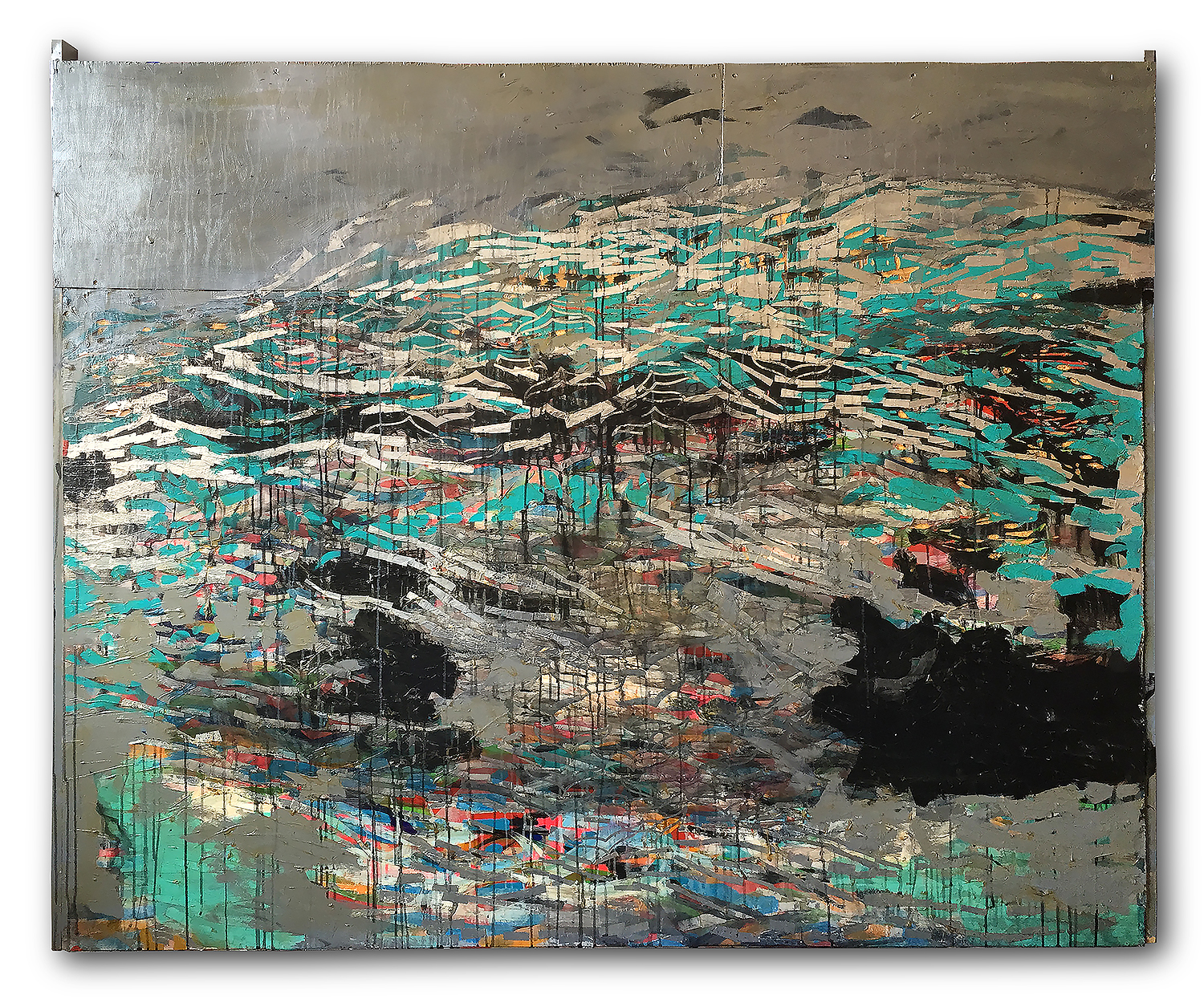 """this is not green"" , acrylic collage & carving on wood 1.65 X 2.03 meters -2015"