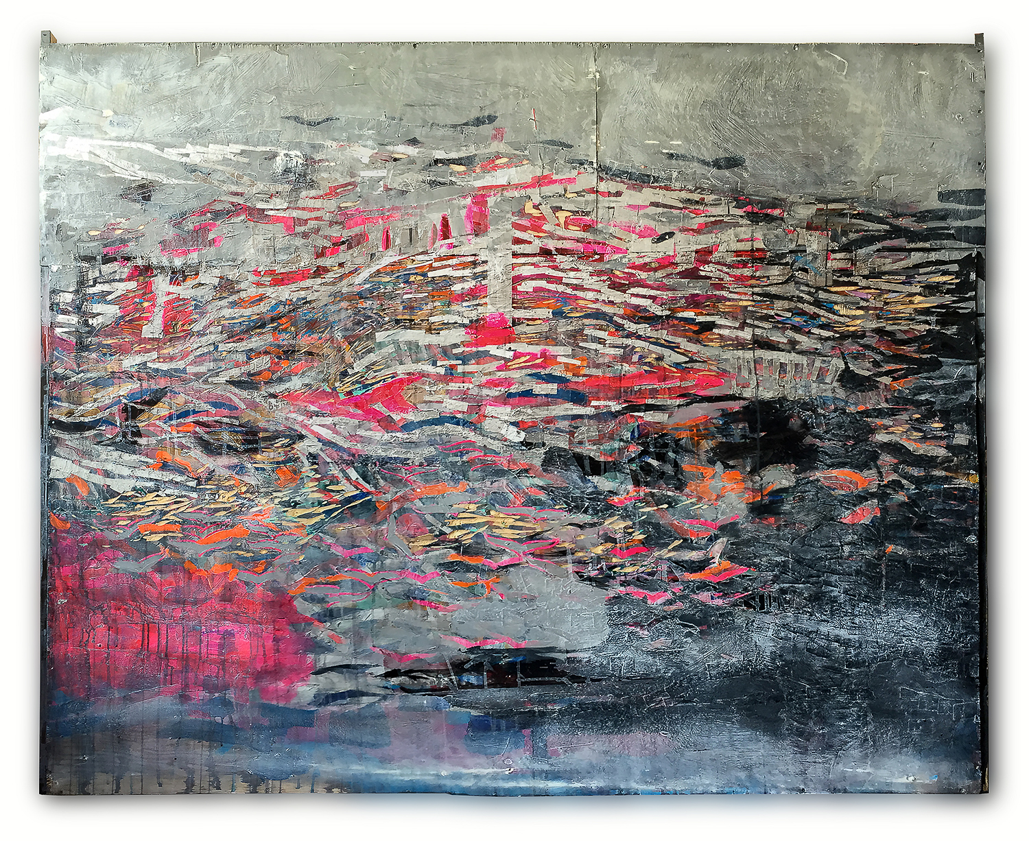 """sunset"" , acrylic collage & carving on wood 1.65 X 2.03 meters -2015"