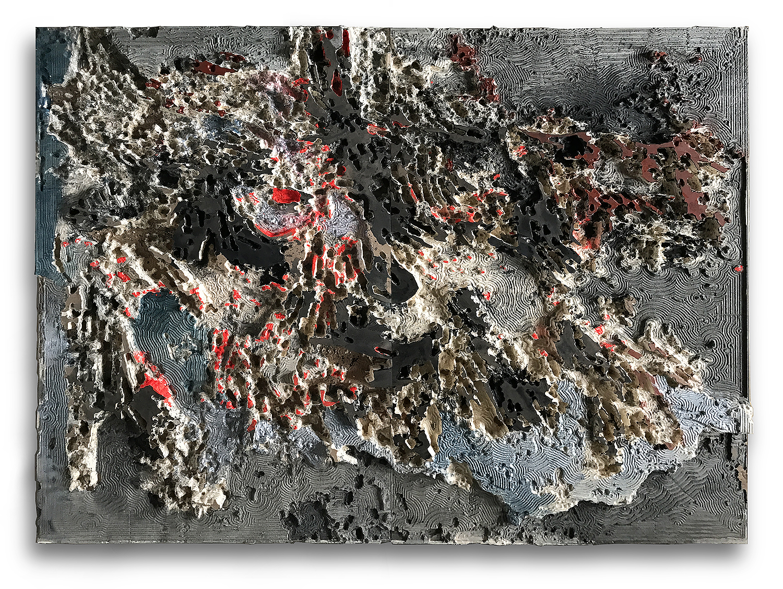 """"""" landscape"""" wood sculpture & acrylic   1.65 X 2.03 meters -2017"""