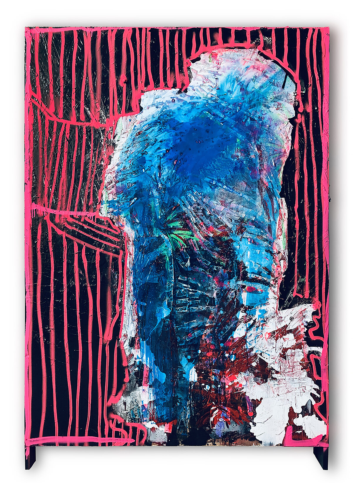 Blue Man       acrylic & collage on wood -1.21 X 1.82 meters- 2019
