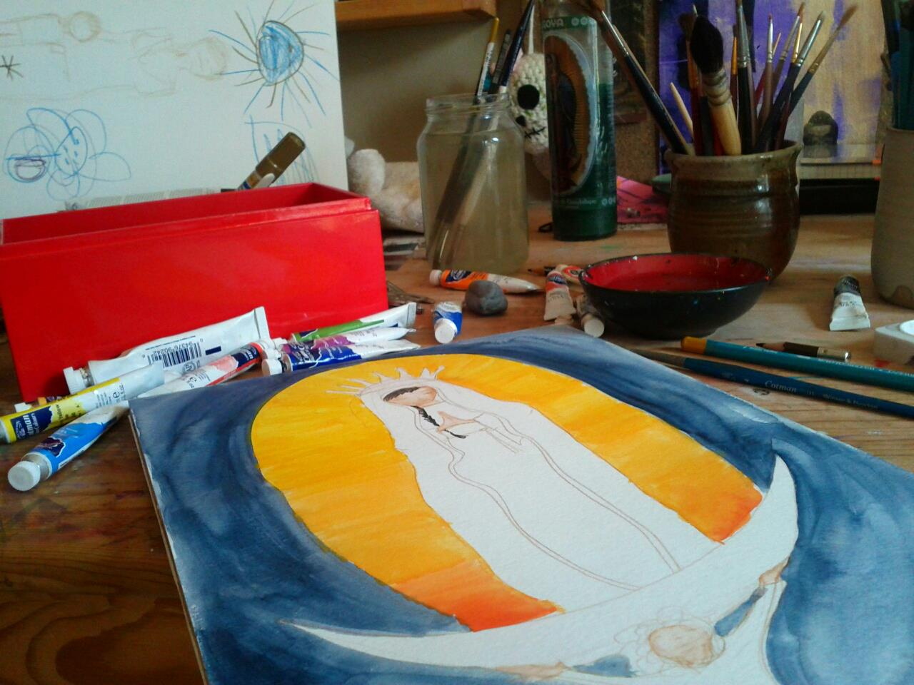 the Virgin of Guadalupe in progress.