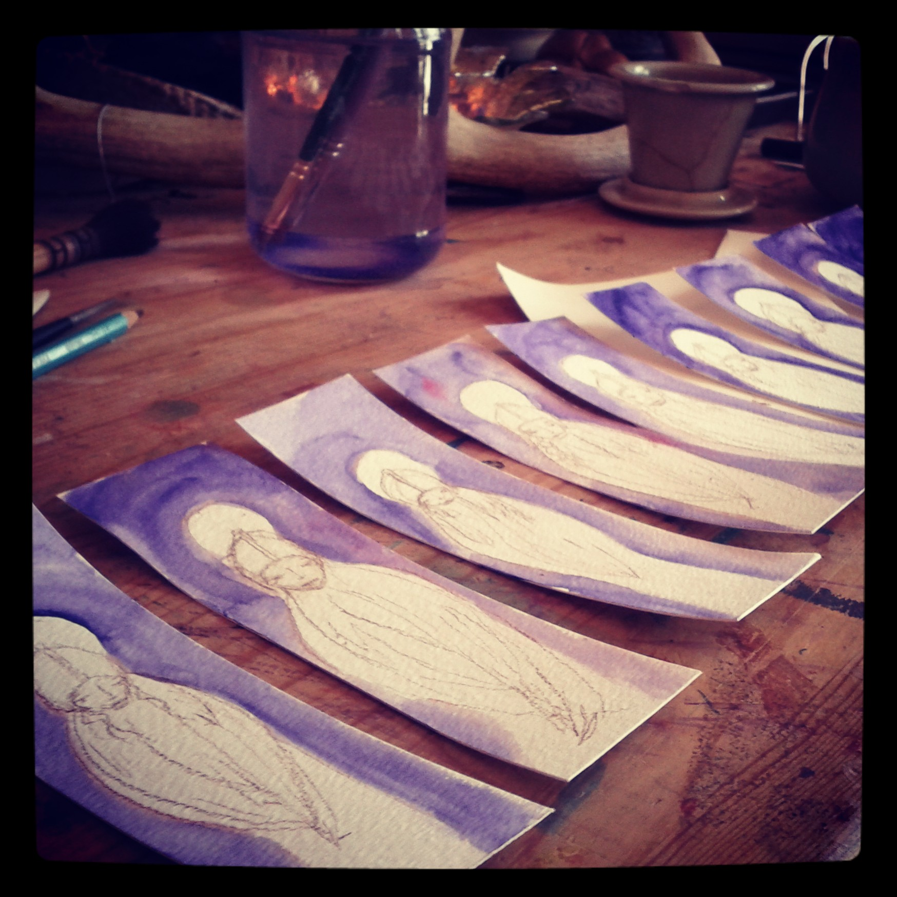 ten archangel azrael bookmarks for an angel party for grieving parents. painted for the lovely rita strough.