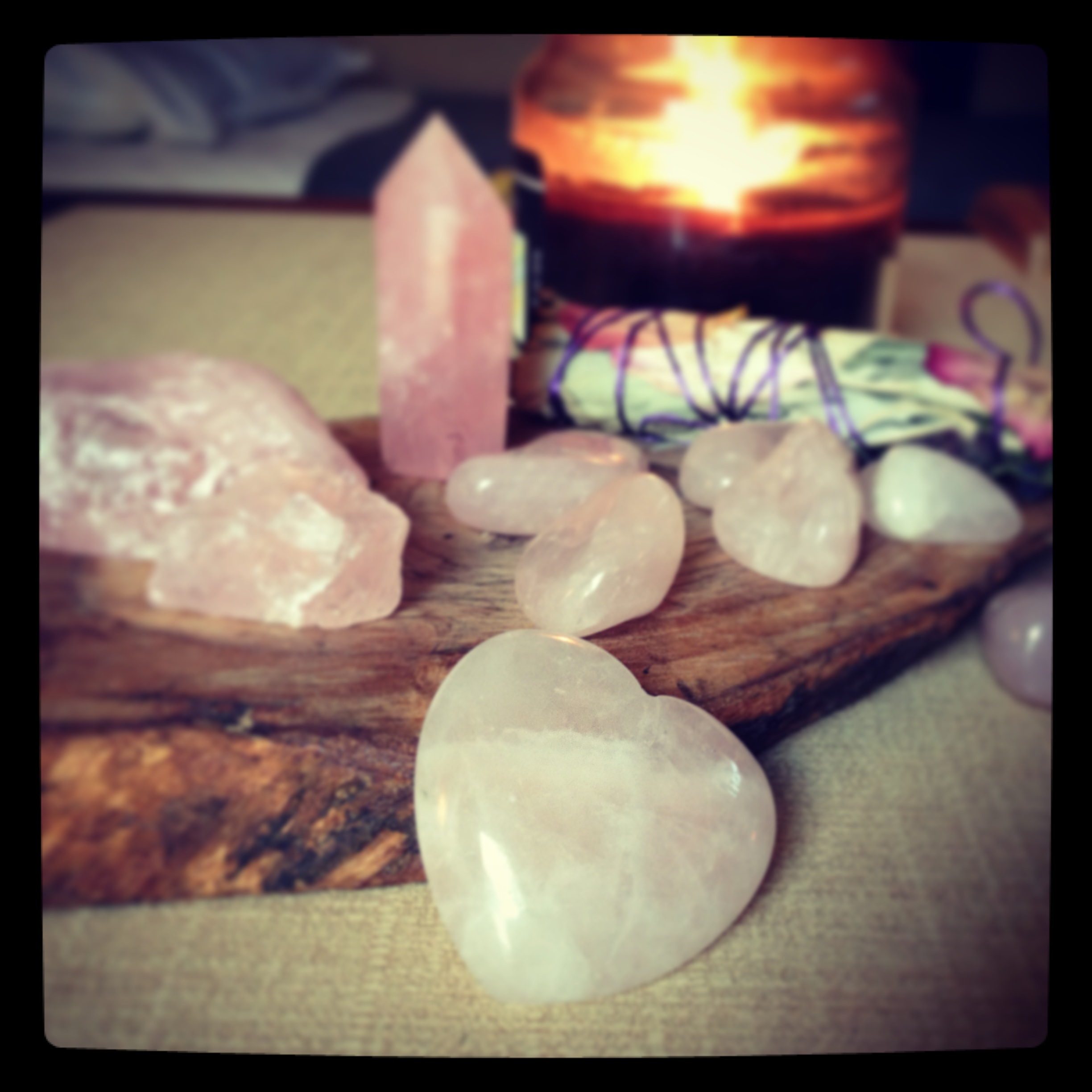 Rose quartz hearts are incredible popular for crystal healing work. The Rose Quartz tower is great for a center point for grids, and can be put directly on the Heart Chakra for blockage releases. Raw rose quartz, shown at the left, is as beautiful as tumbled stones.