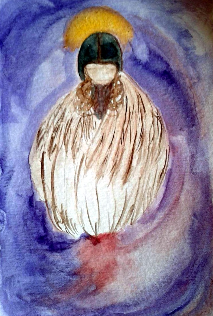 A channeled painting of Archangel Azrael, the angel of grief. Copyright, Angie Yingst 2011