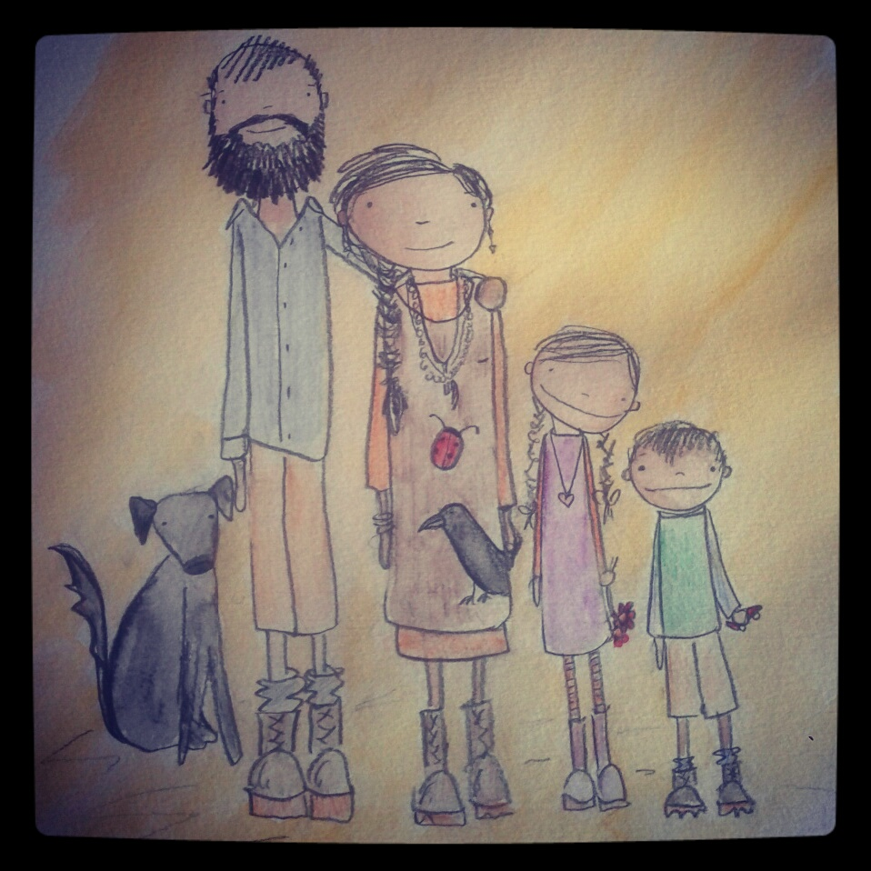 My family drawing with my husband Sam, daughter Beatrice, son Thomas, and dog Jack. Since I drew this picture, we had another baby named Zachary Michael. Our daughter Lucia is represented by the ladybug, and our son Michael by the Raven, our two babies we lost.