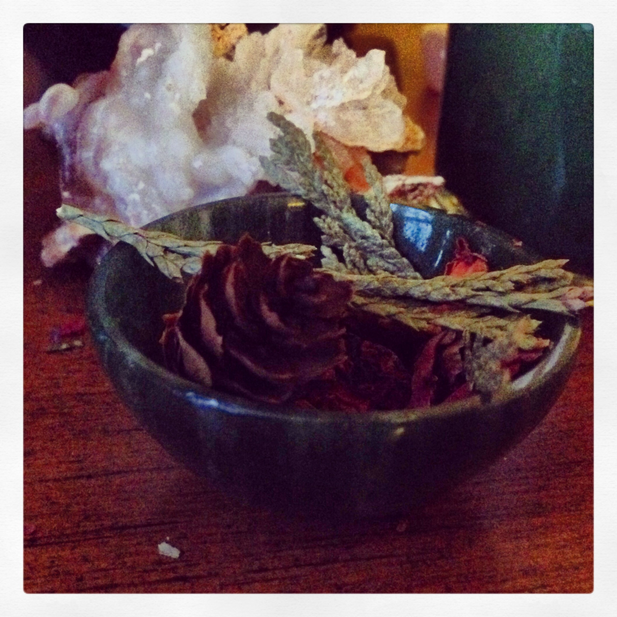 offering in a green aventurine bowl.
