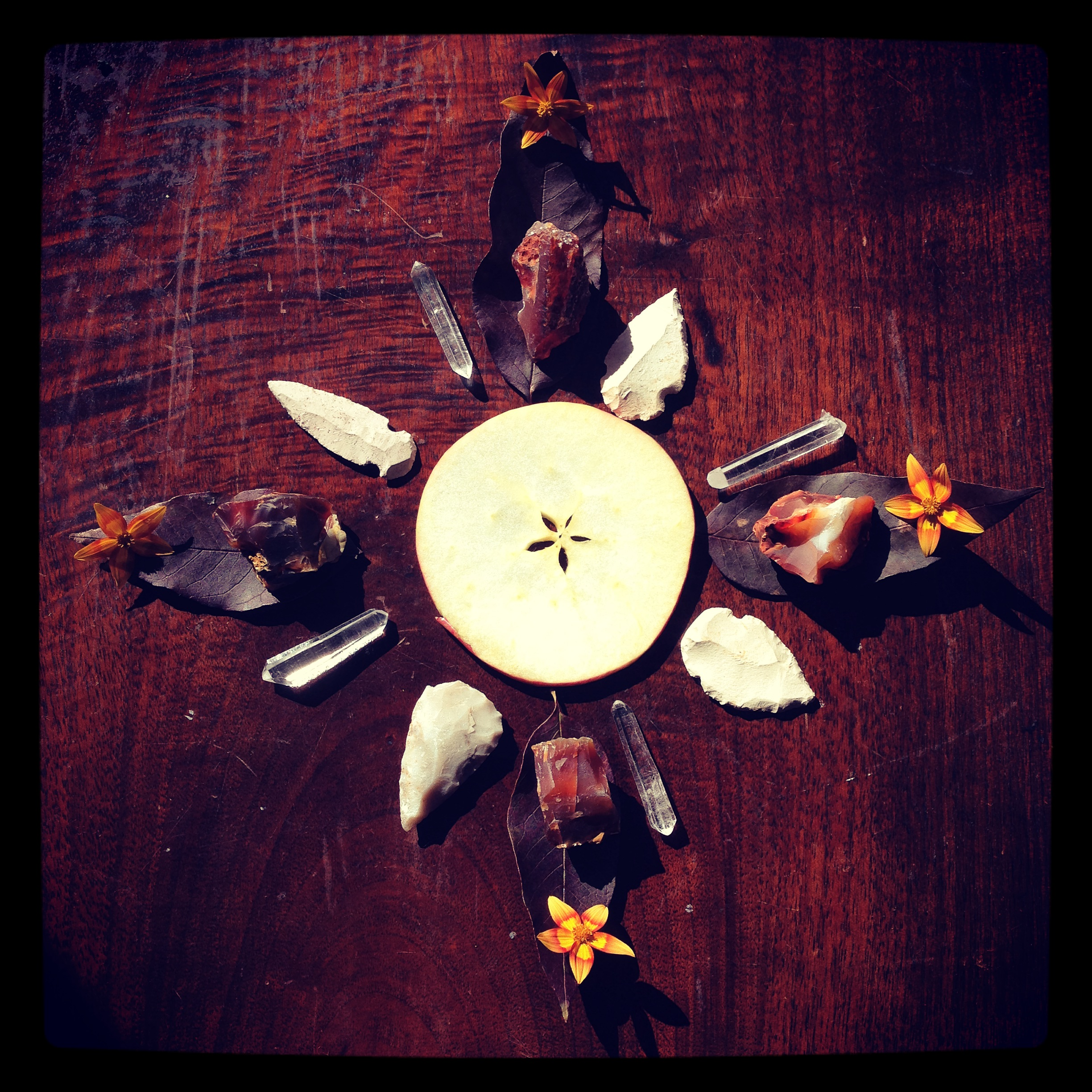 autumn mandala with clear quartz, carnelian, apple, white arrowheads, and autumn blooms.