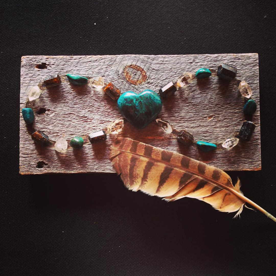 Infinity Grid with Chrysocolla, Dravite and Herkimer Diamonds and Owl Feather.
