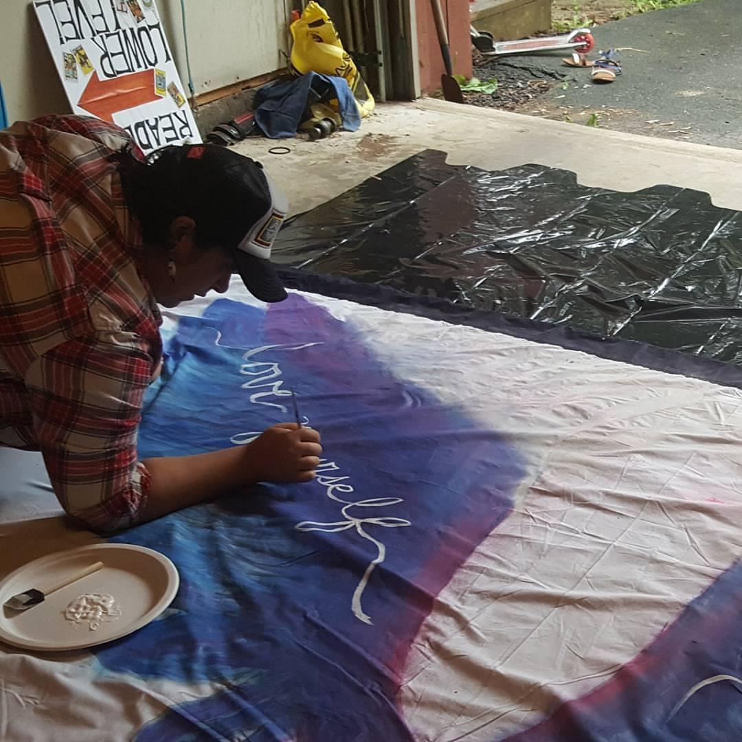 Creating seven foot wings for the Spirit of Oneness Holistic Expo, 2017