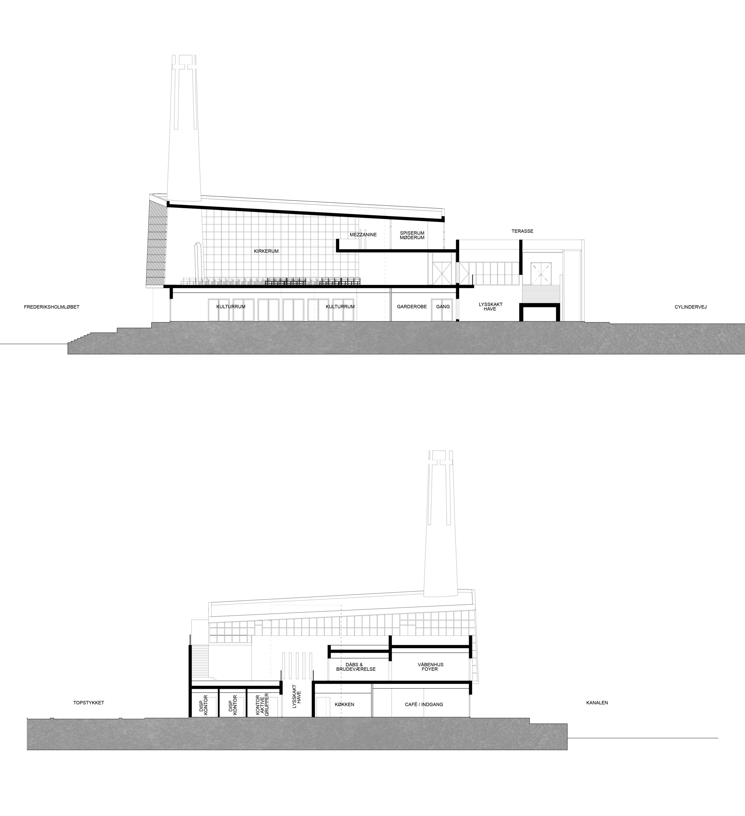 South Harbour Church Sections, Megan Blake and Ole Jensen, 2016