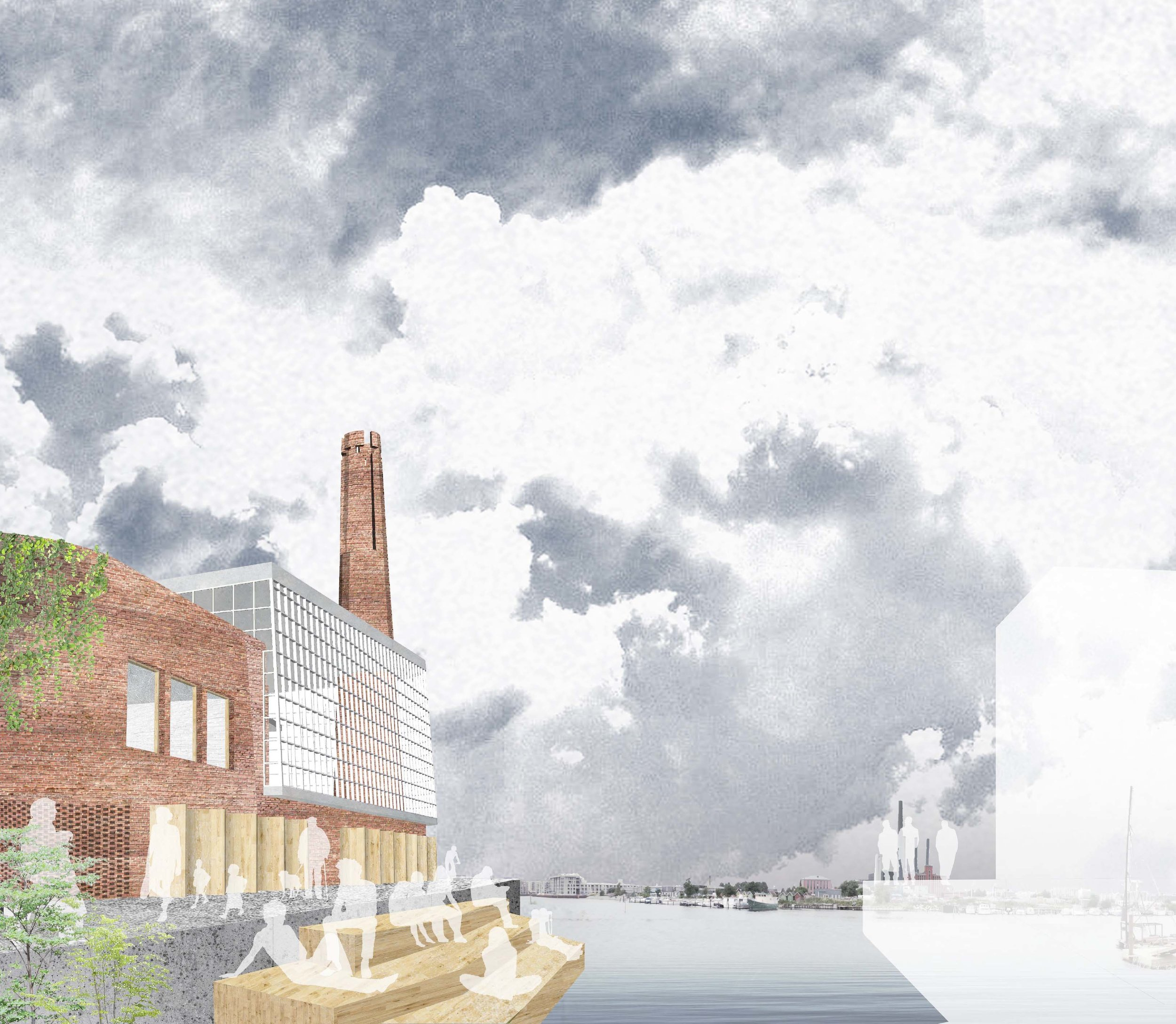 South Harbour Church Visualization from Canal, Megan Blake 2016