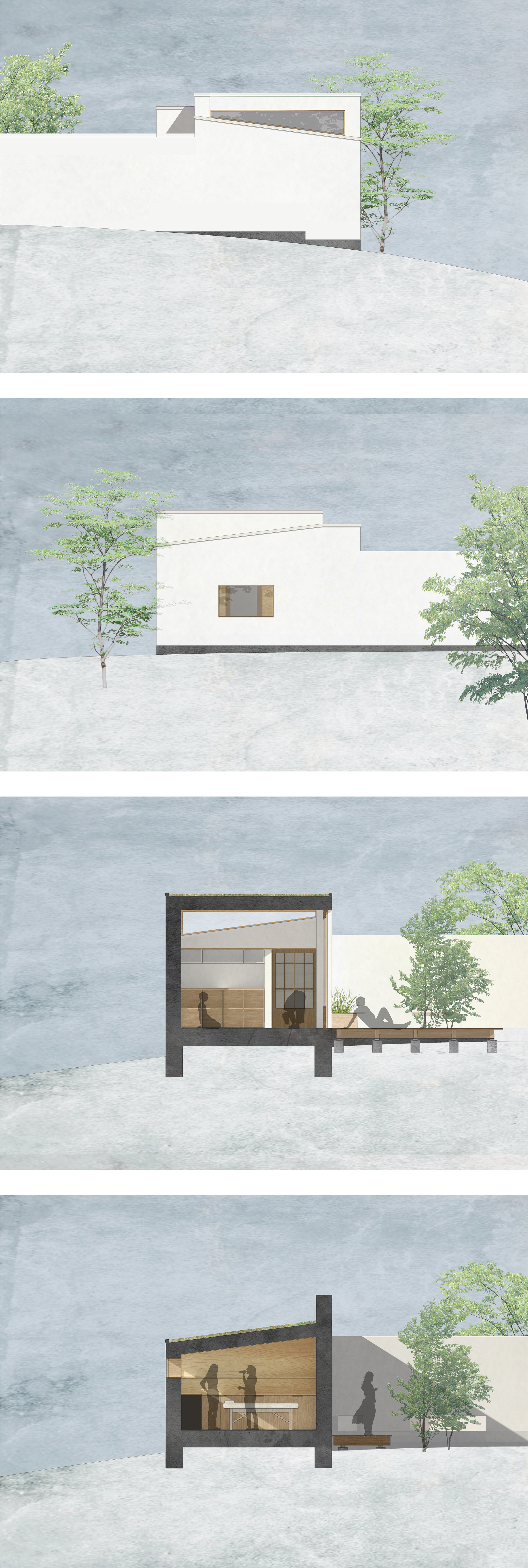 Røntofte Annex facades and sections, Megan Blake, 2017.