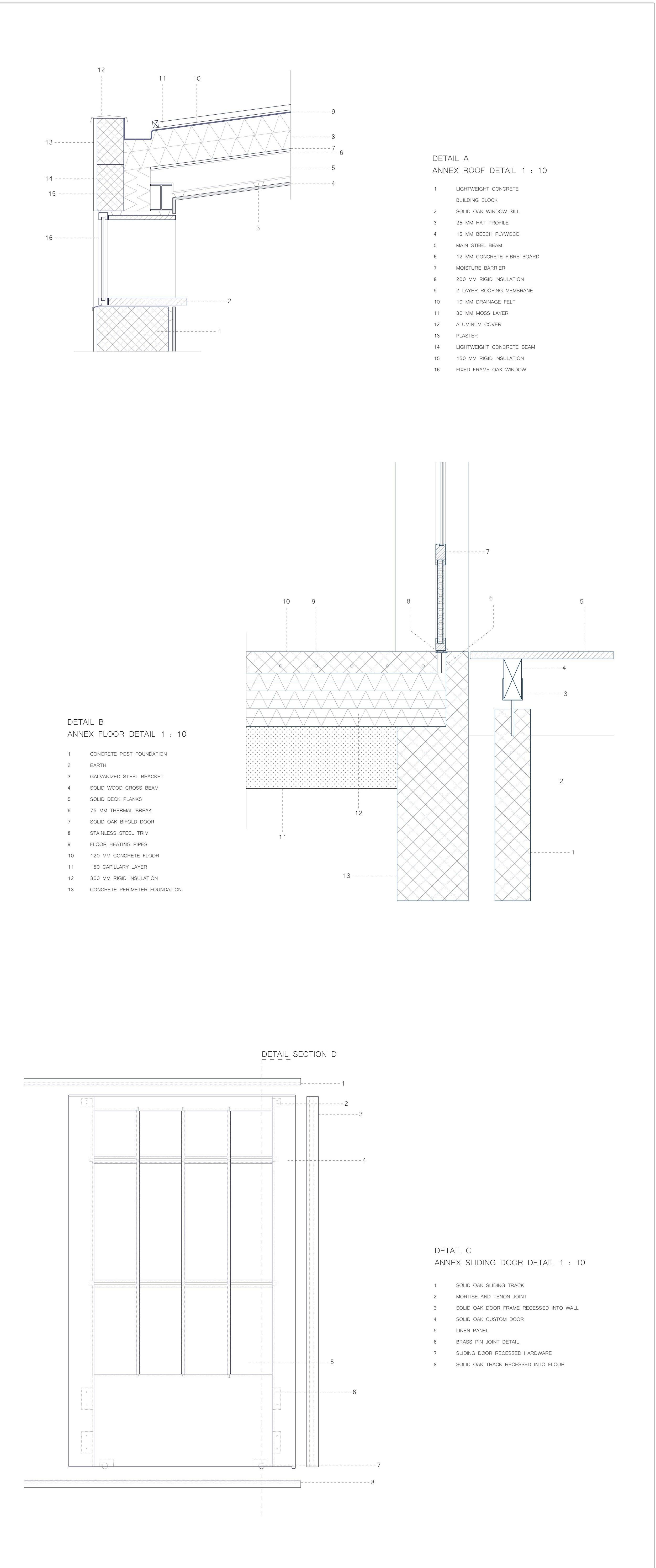 Røntofte Annex Detail Drawings, Megan Blake, 2017.