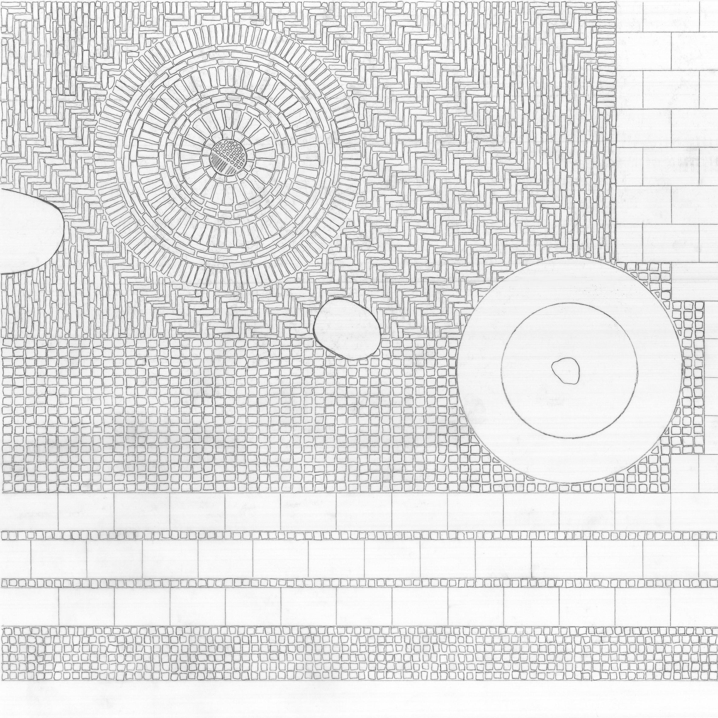 Red Square Pavement Detail, Hand Drawing, Megan Blake, 2015.