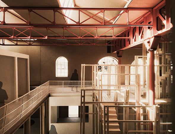 Powerhouse: Connecting Asylum Seekers to the City. Model Perspective Mezzanine and Skylight, Megan Blake, 2017.