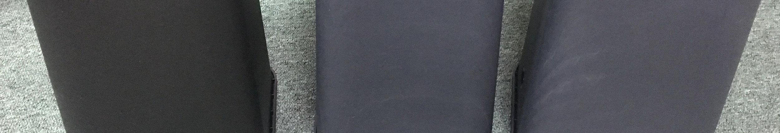 加入4%碳黑的射出產品。可以明顯看出,智昱的AS-644 (圖左)灰黑度明顯優於競爭廠商。這是因為智昱選用的綠色溴基耐燃劑是日本新型半透明結晶狀產品,與一般常用的白色粉狀耐燃劑相比,用量減半,優勢明顯。