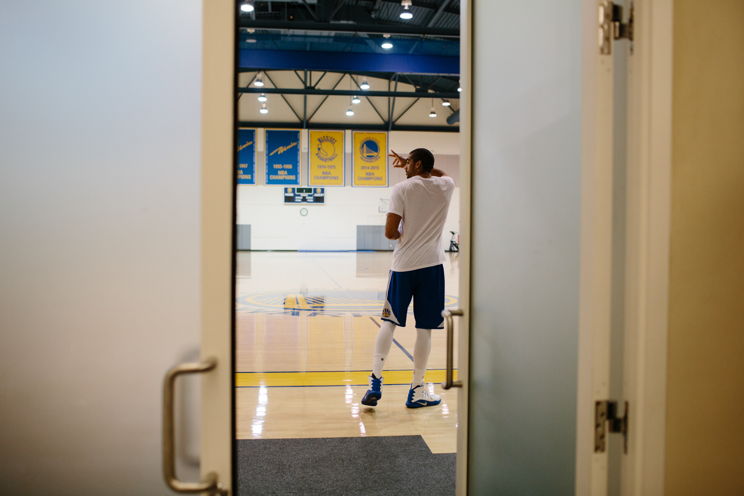 James Michael Ray McAdoo heads to the gym to stretch and digest before starting practice. He is the first to arrive, which is the norm for McAdoo.