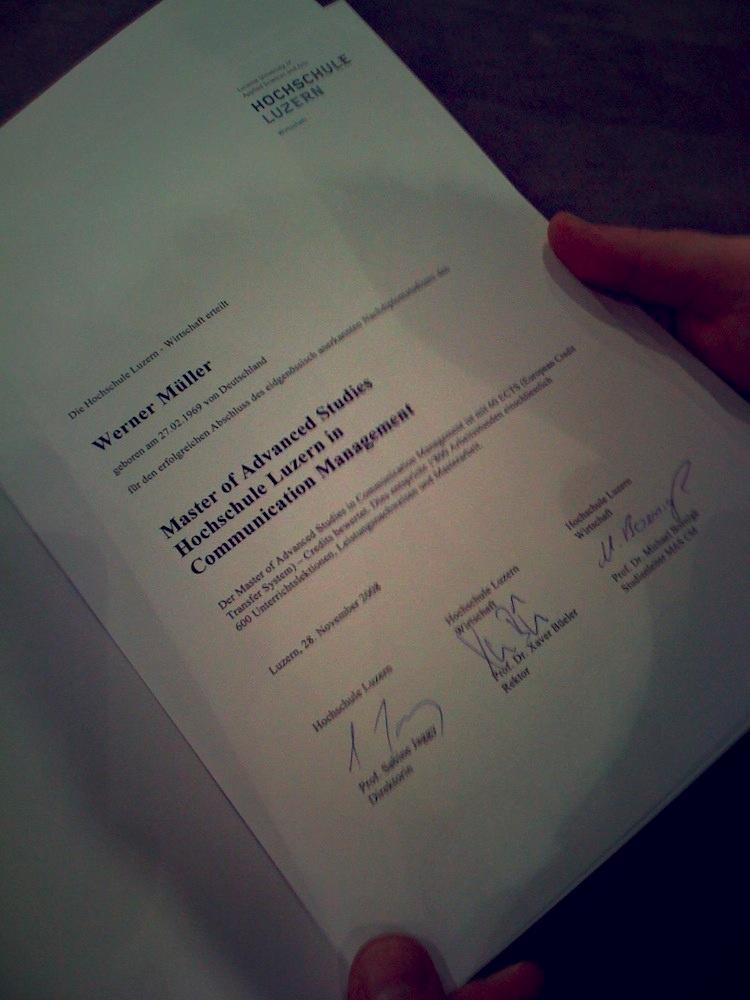 Masterdiplom Werner Müller