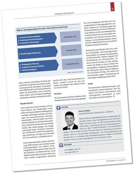 Laden Sie kostenfrei den Fachartikel «Mit der Informationsflut richtig umgehen» (pdf).  Publiziert im «KMU-Magazin» 4/2013.