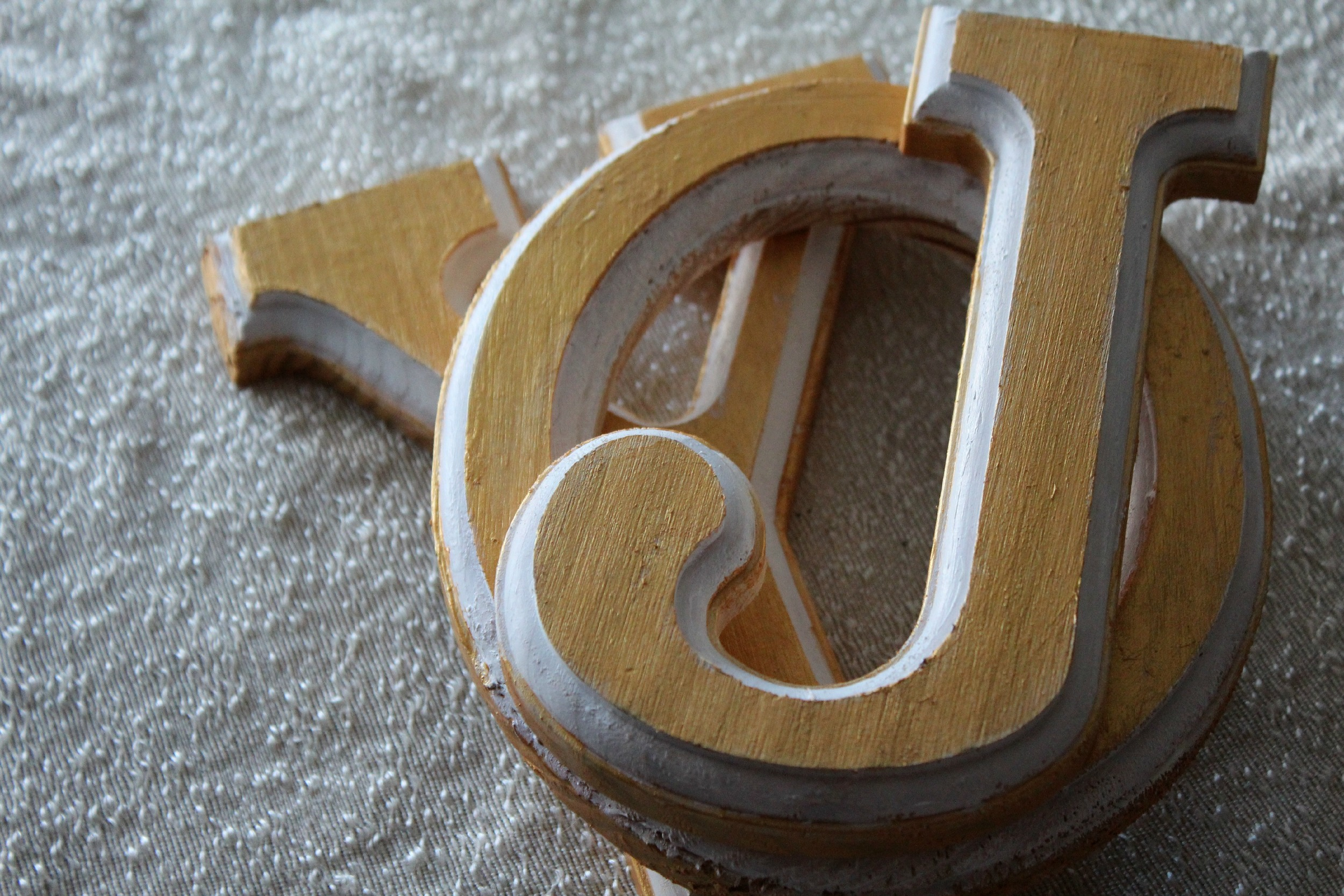 Hand painted wooden letters from Hobby lobby.