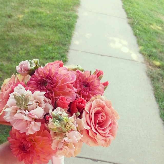 Trading in my camera for a bouquet!