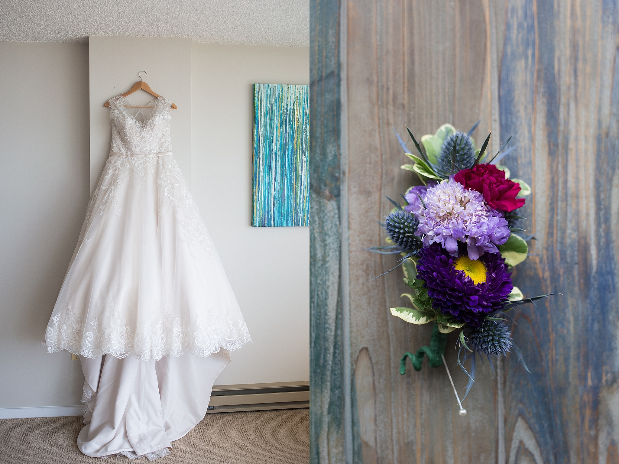 Bridal gown and flowers
