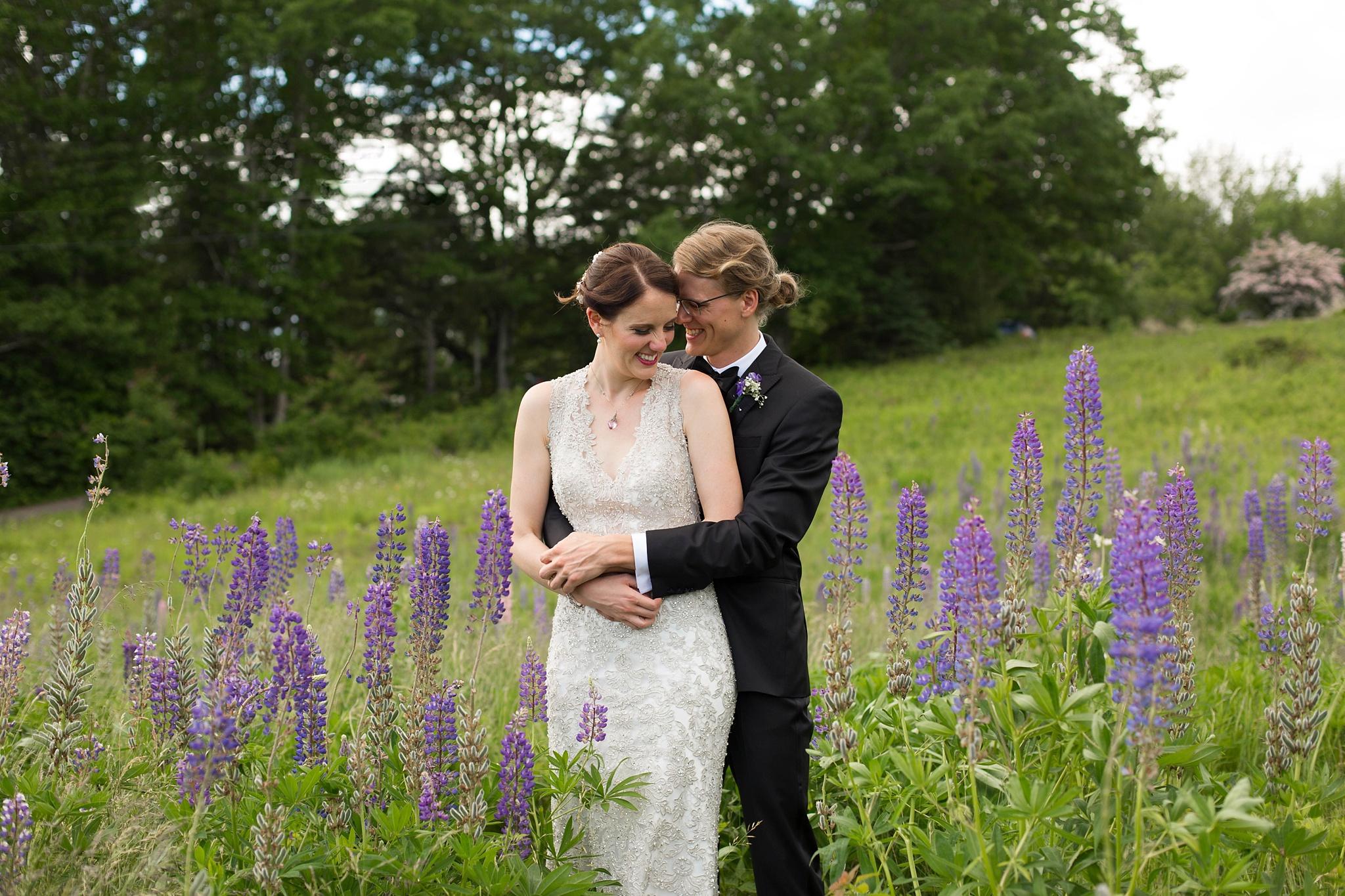 Wedding in lupine field