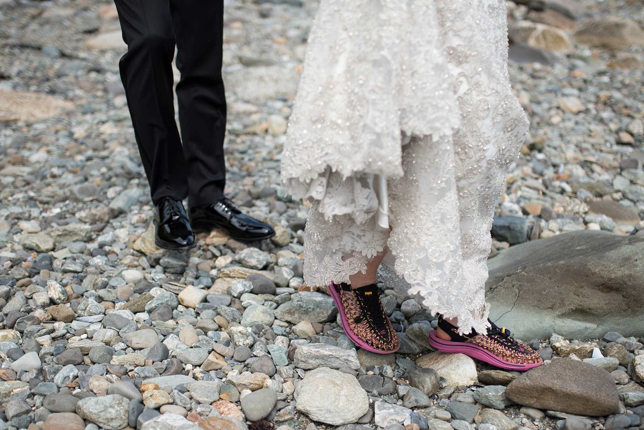 bride in water shoes