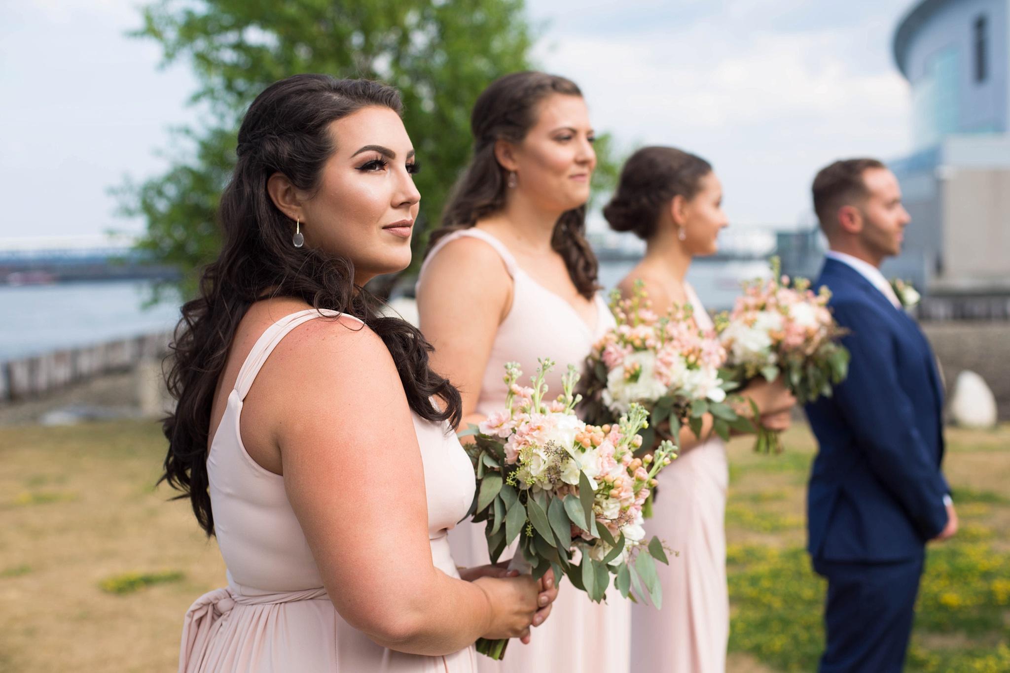 pale pink bridesmaid dress