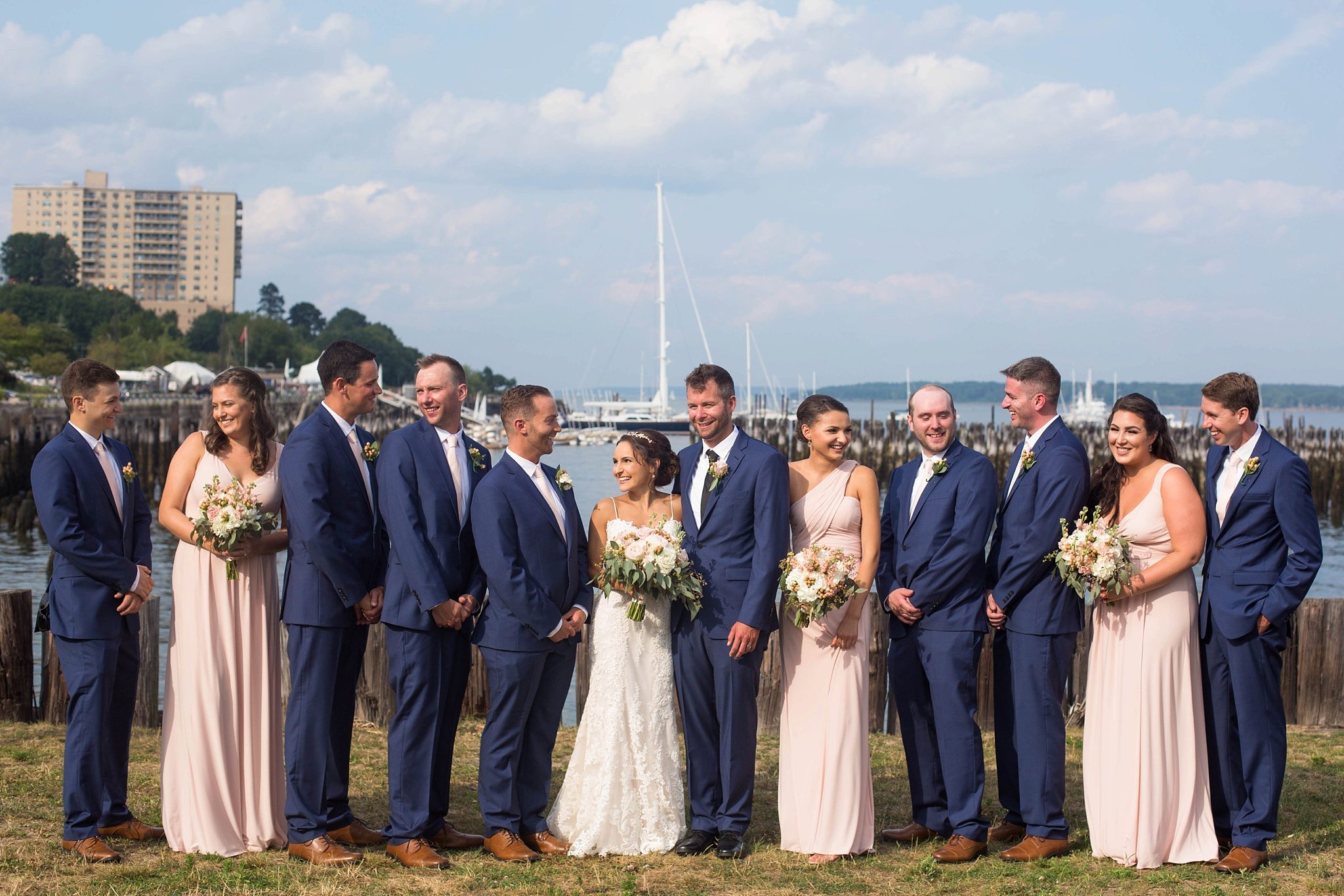 navy and pink bridal party