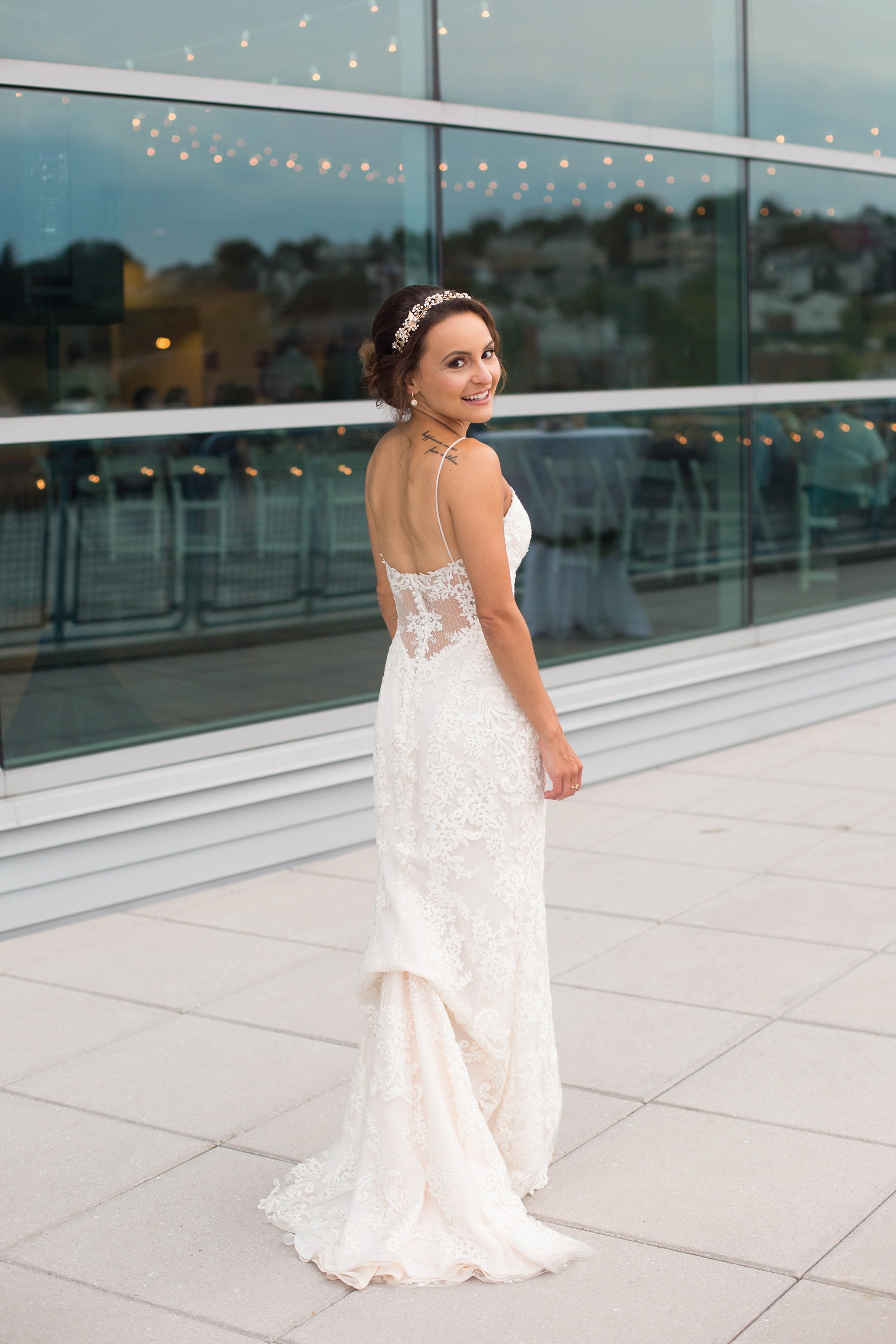 brides gown bustled