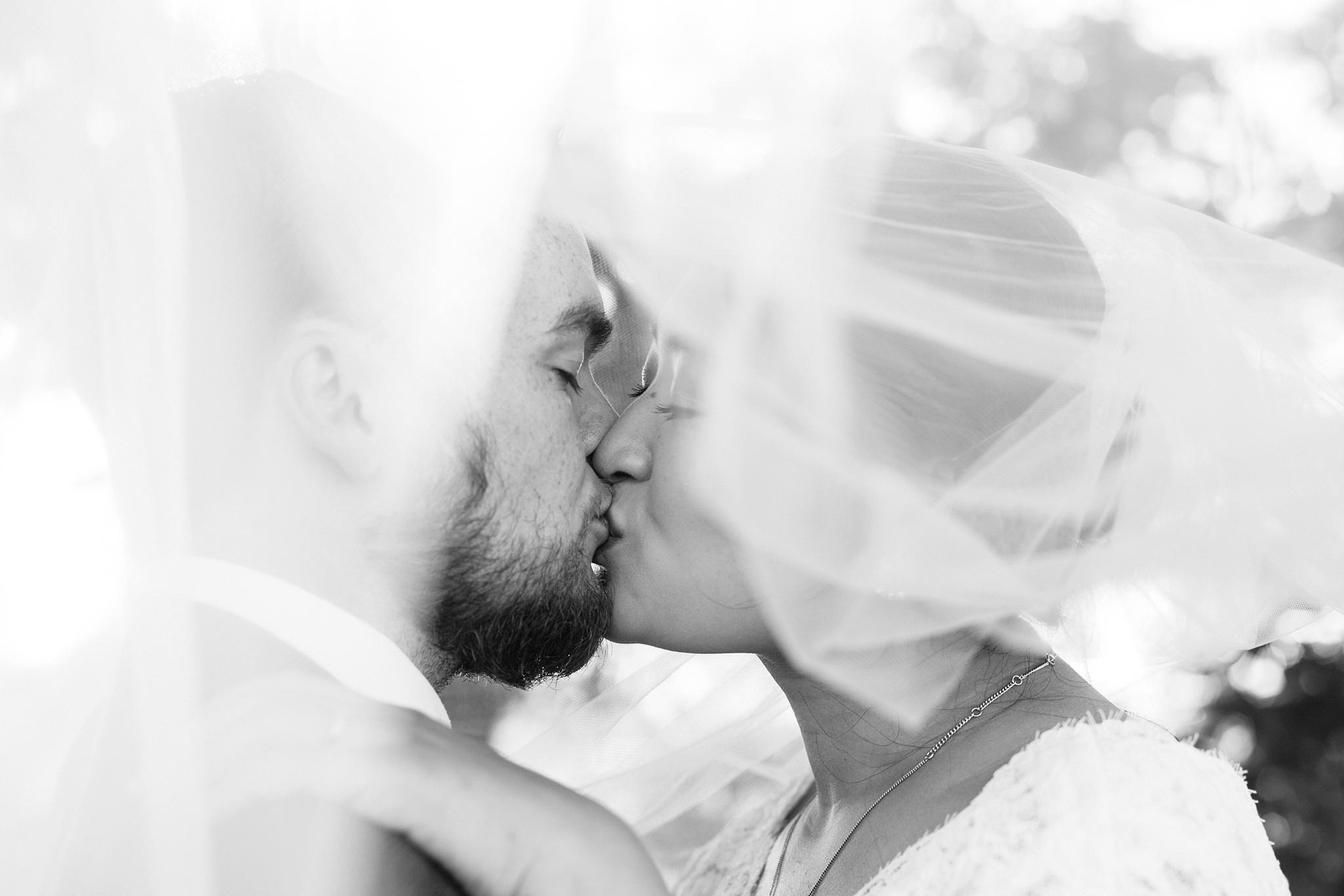 underneath veil wedding shot