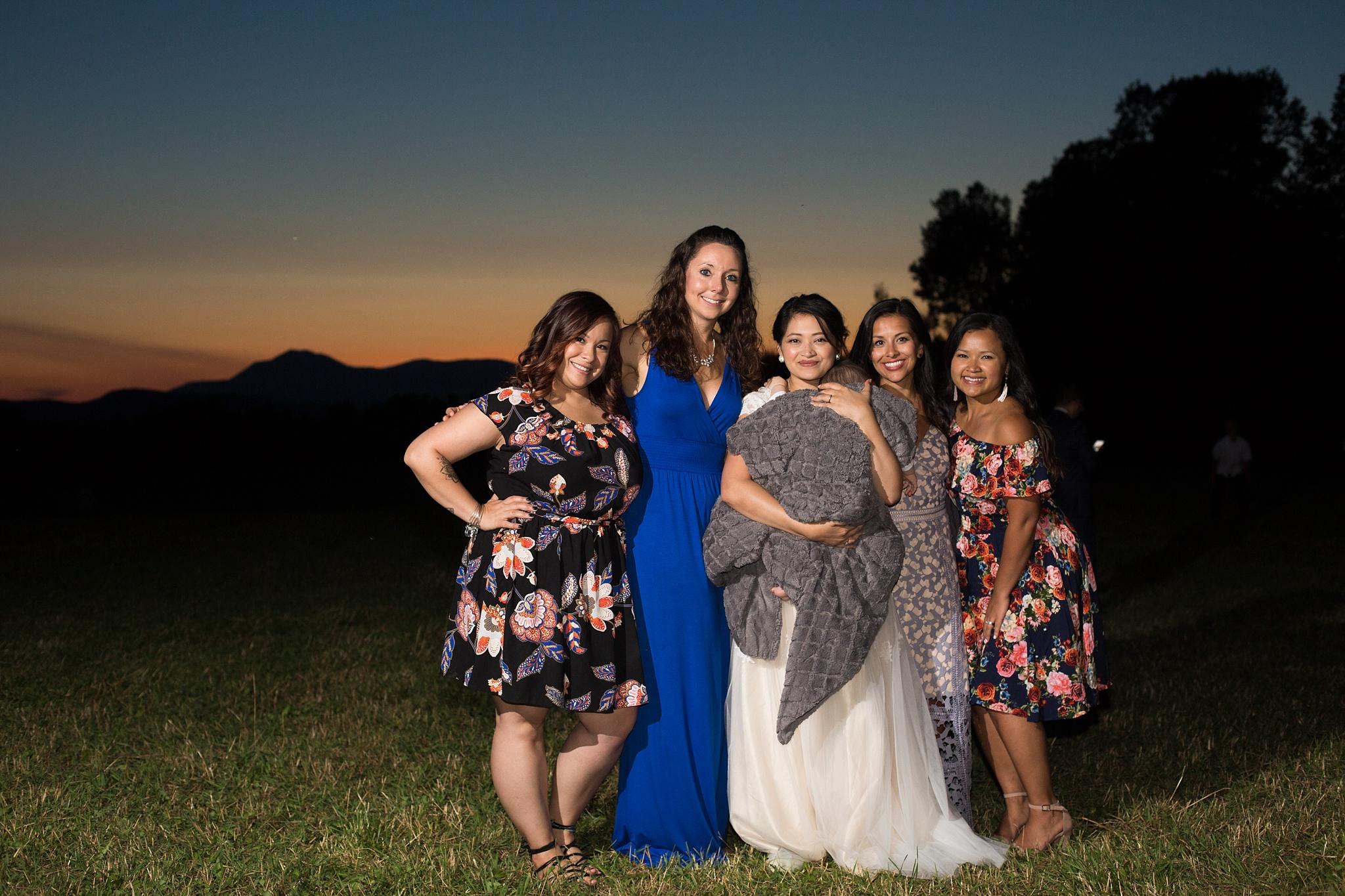 girlfriends at wedding