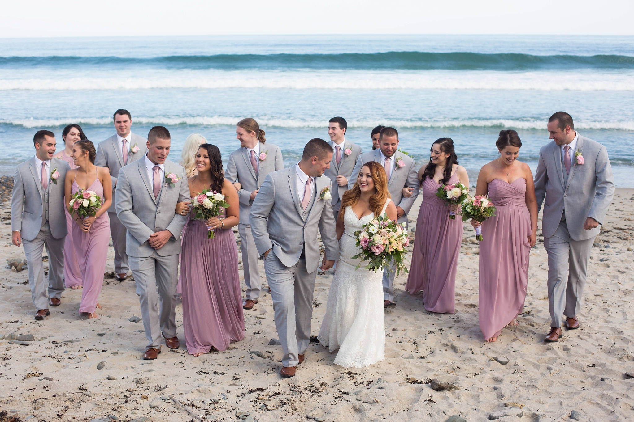bridal party photos on maine coast