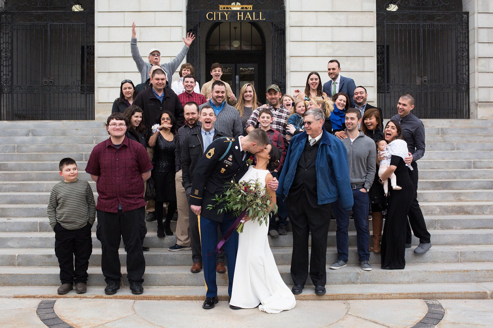 city hall group wedding photo
