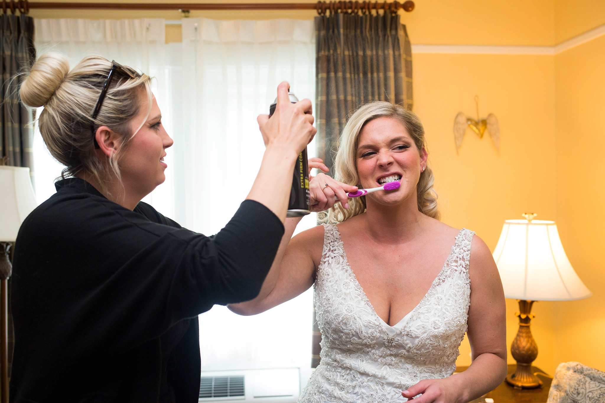 bride brushing her teeth