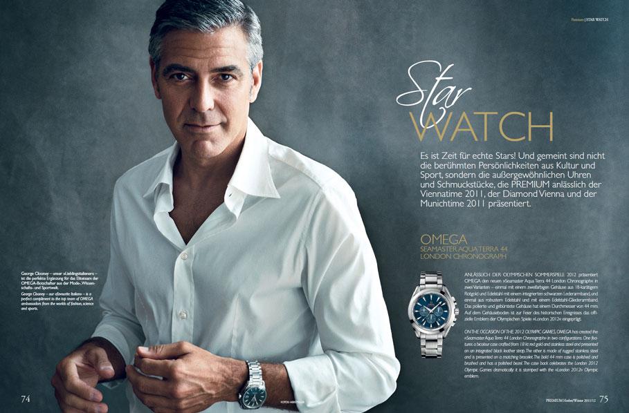 George Clooney trägt Omega, Jean-Claude Biver MC Lago