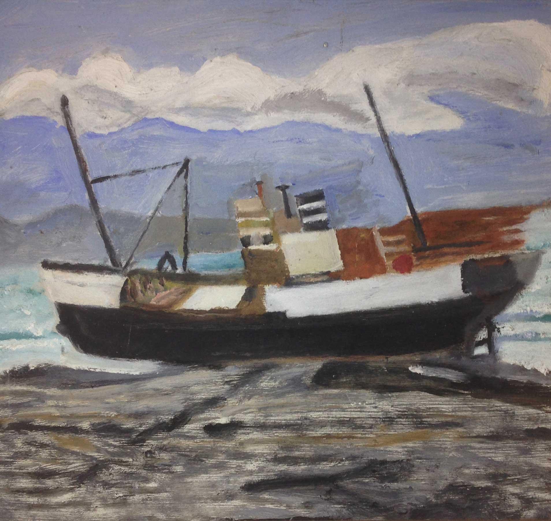 Painting of MV Norholmen, artist unknown