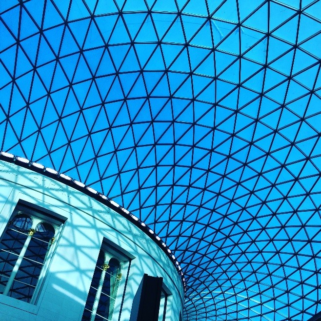Blue skies in The Great Court, The British Museum