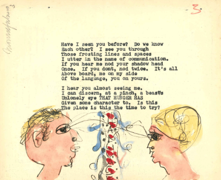 Hand painted postcard by W.S. Graham The National Library of Scotland,©The Estate of W. S. Graham