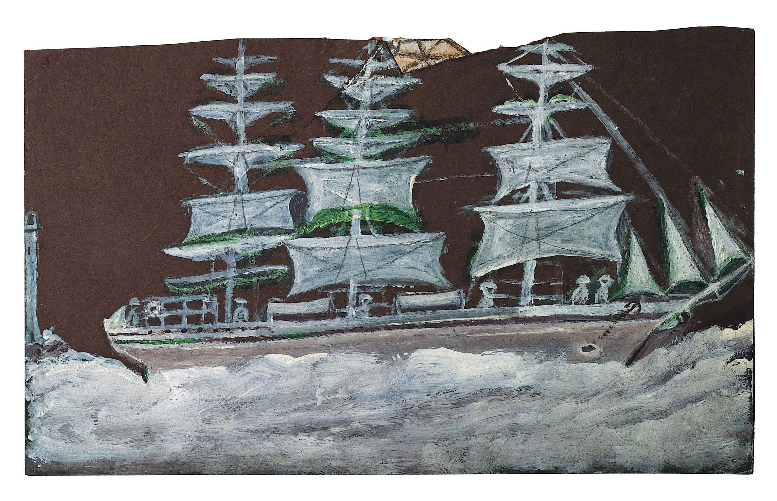 Alfred Wallis,  White sailing ship – three masts  c. 1934-8, oil on paper