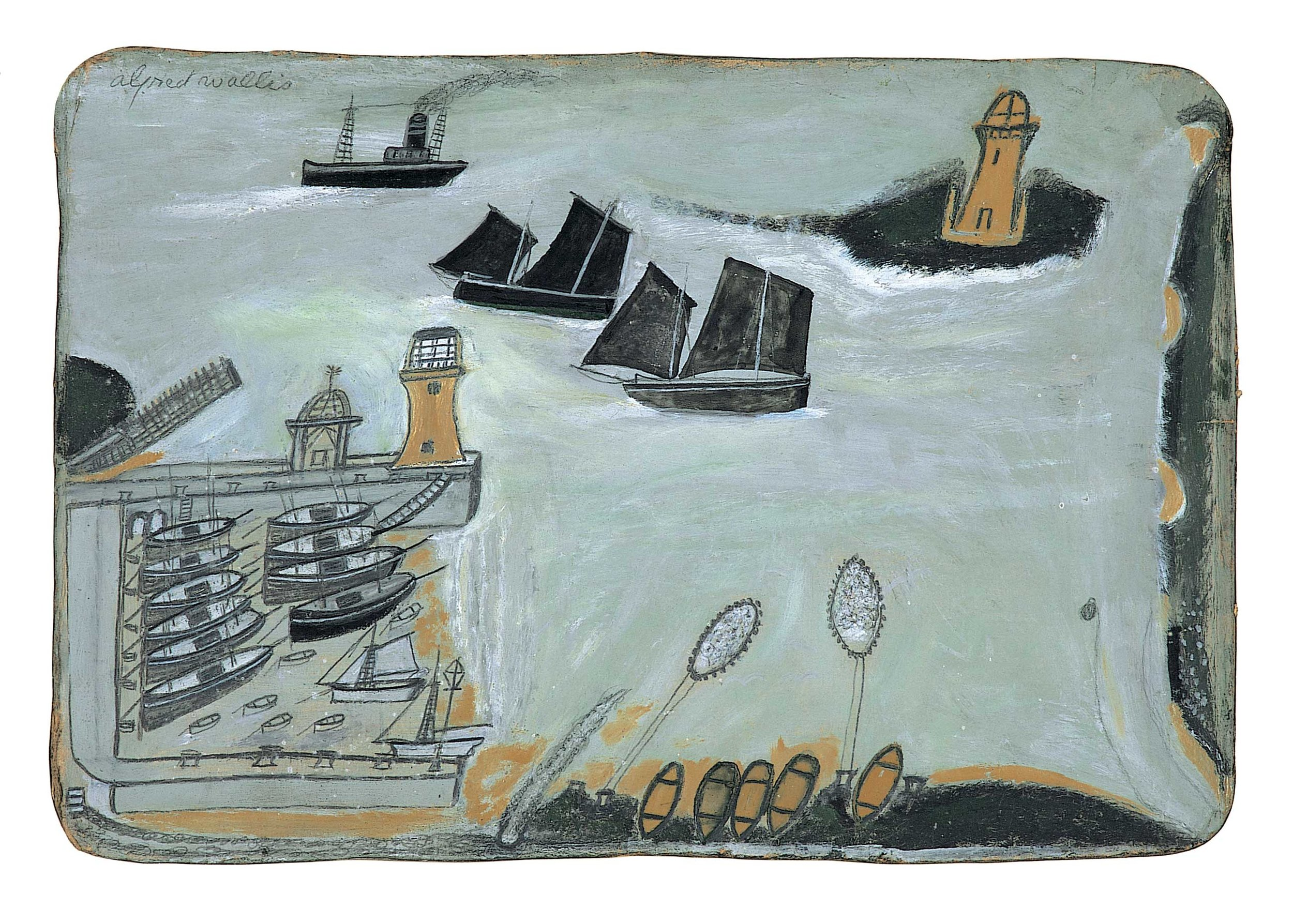 Alfred Wallis,  Three ships and lighthouse  c. 1934-8, pencil and oil on card